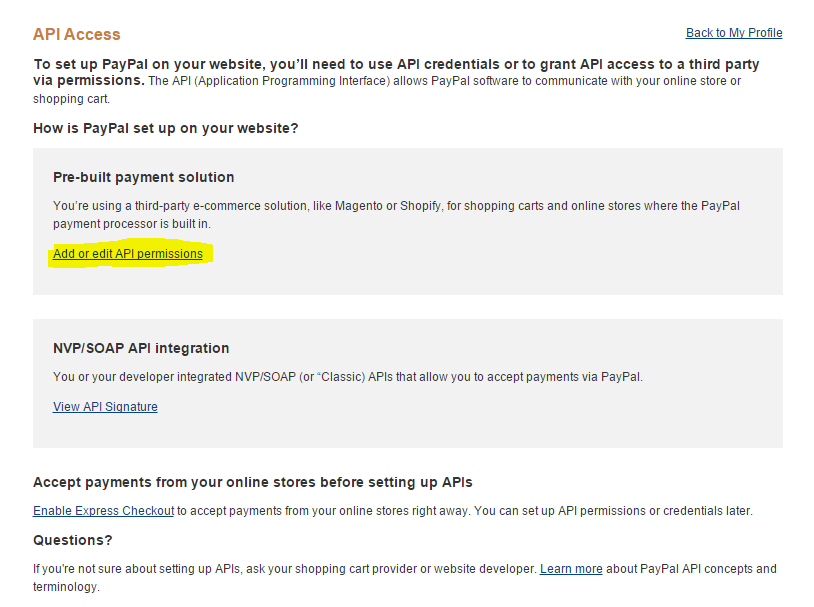 Grant API Permission