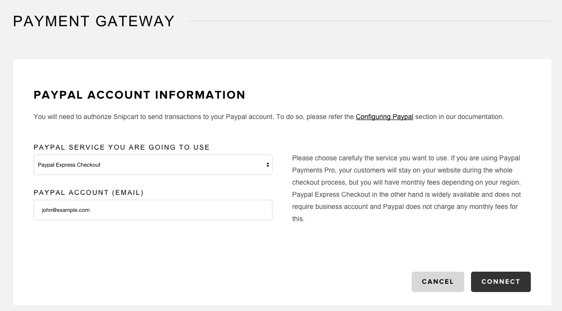 Snipcart PayPal Express Checkout