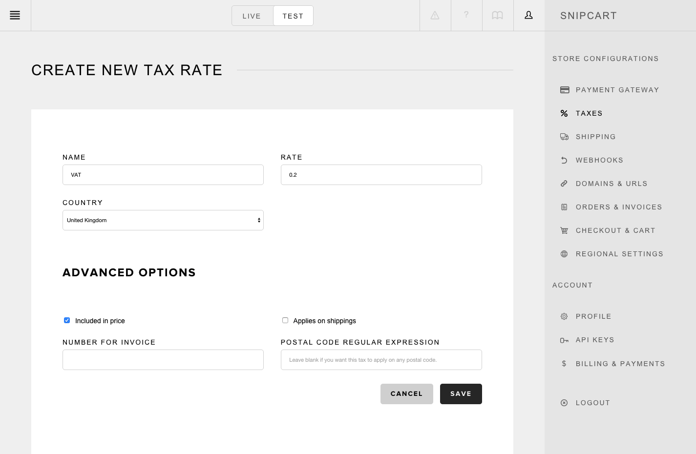 snipcart-docs-dashboard-create-tax