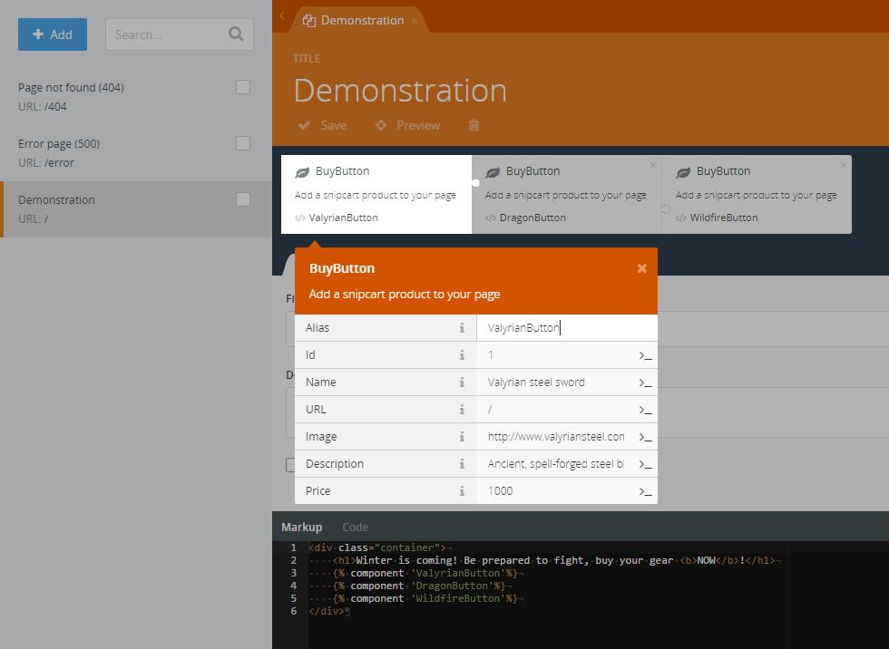 snipcart-octobercms-integration-cms-dashboard