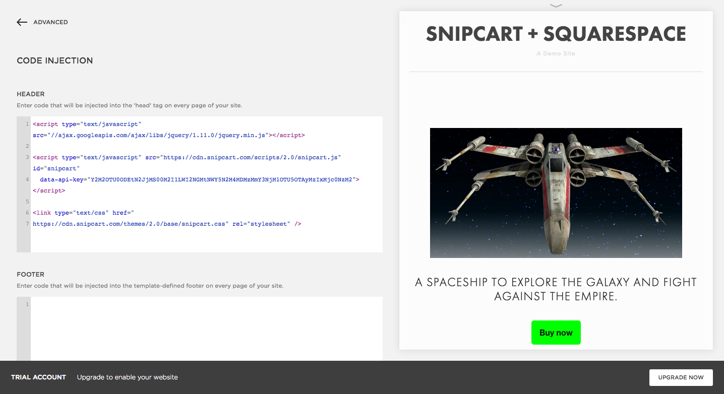 snipcart-squarespace-shopping-cart-code-injection