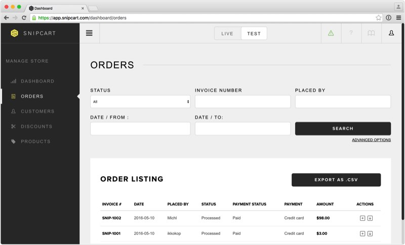 snipcart-pulse-cms-ecommerce-orders