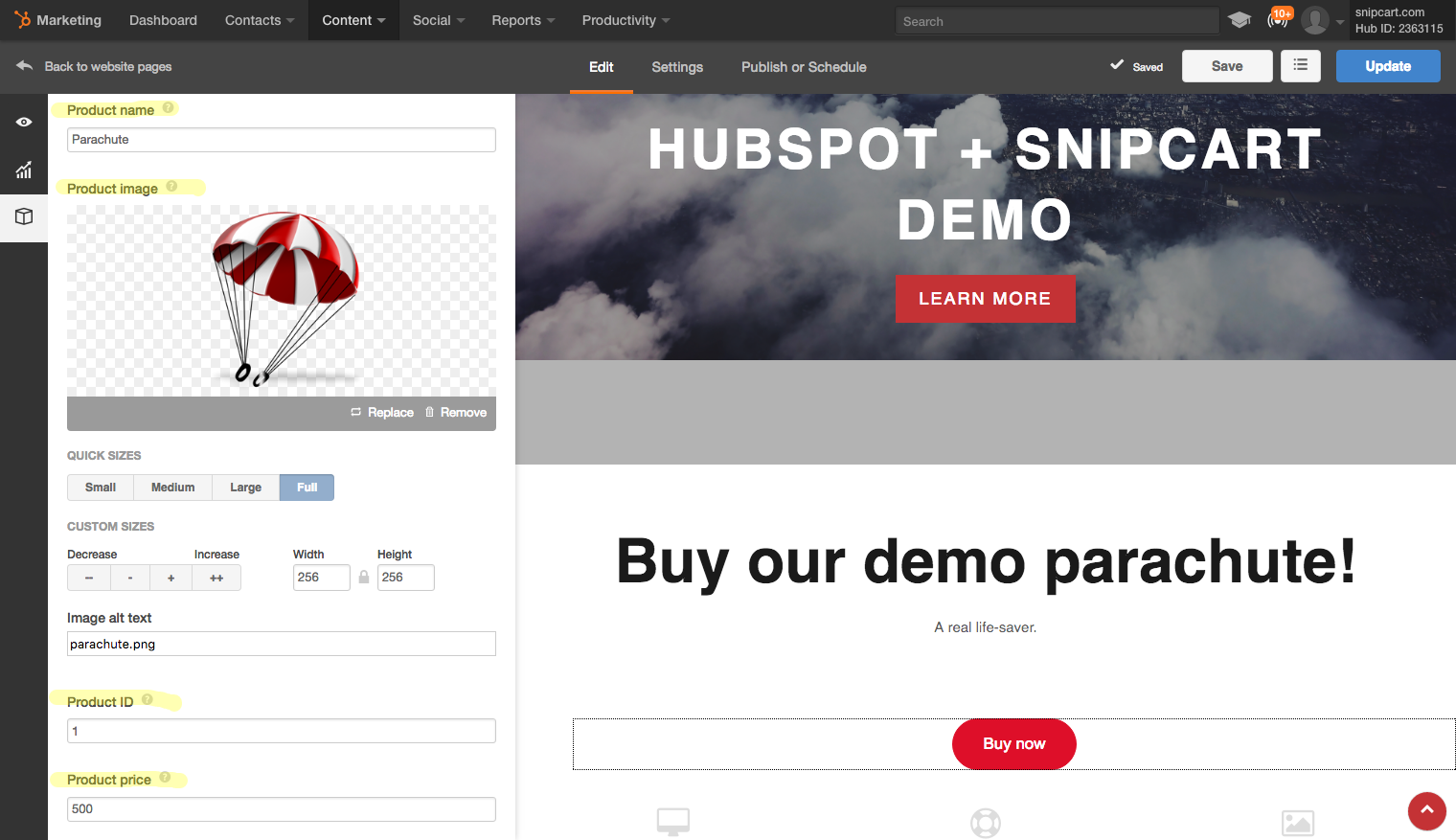 define-snipcart-buy-button-hubspot