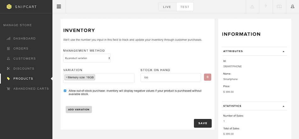 Simple E Commerce Inventory Management System Snipcart