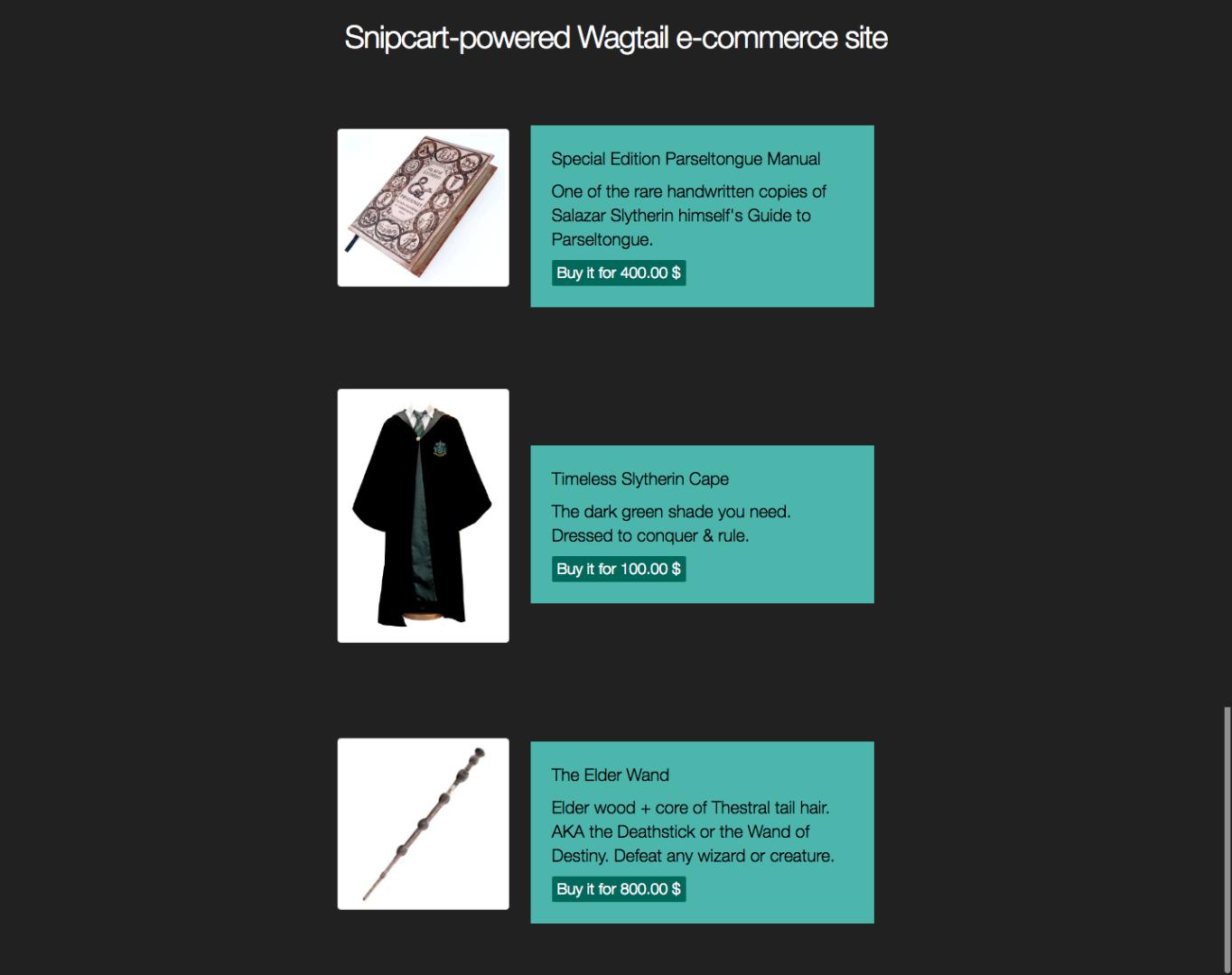 django-ecommerce-demo-snipcart-wagtail