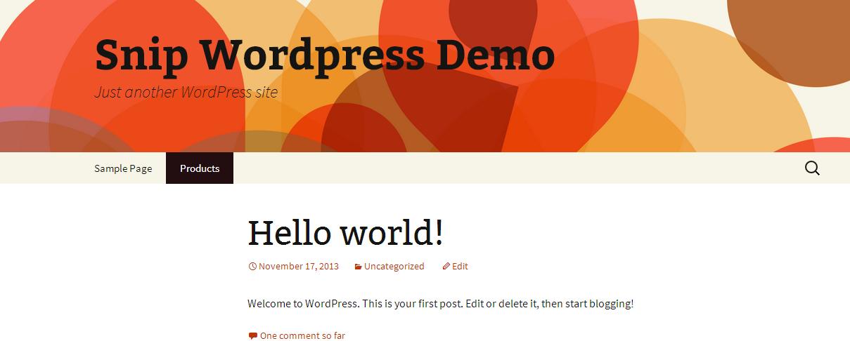 Wordpress snipcart Products menu