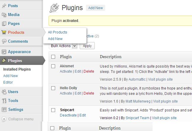 Wordpress snipcart Product admin