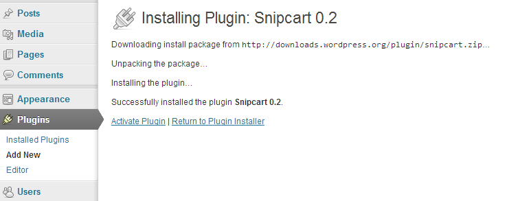 Wordpress snipcart plugin instalation