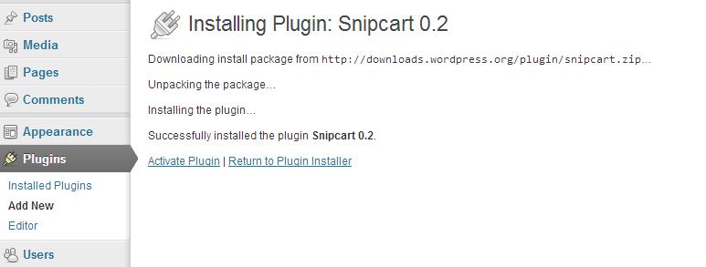 Wordpress snipcart plugin instalation