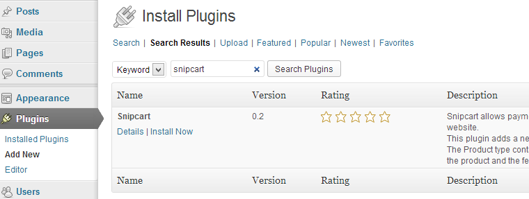 Wordpress snipcart plugin search result
