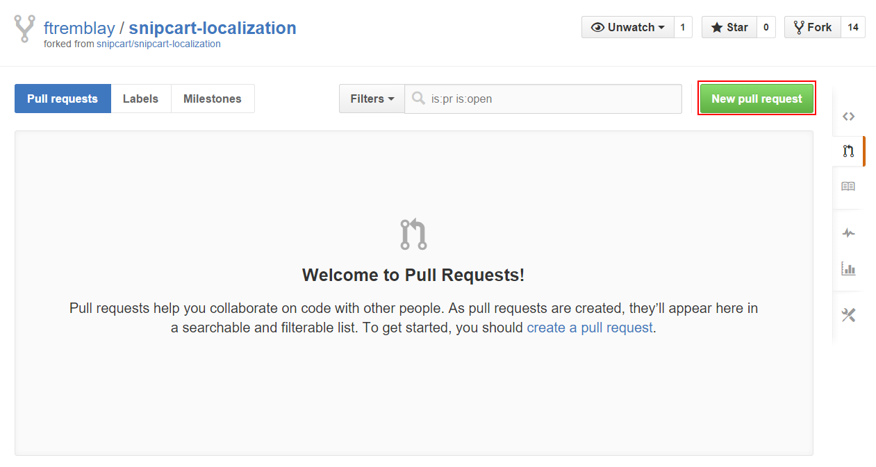 Click on new pull request